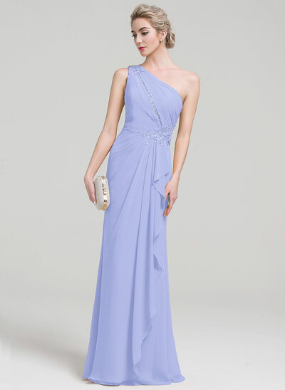 A-Line/Princess One-Shoulder Floor-Length Chiffon Evening Dress With Beading Sequins Cascading Ruffles