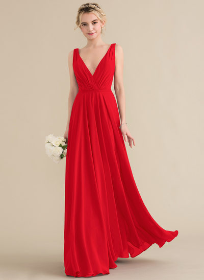 30b74a6428 A-Line Princess V-neck Floor-Length Chiffon Bridesmaid Dress With Ruffle