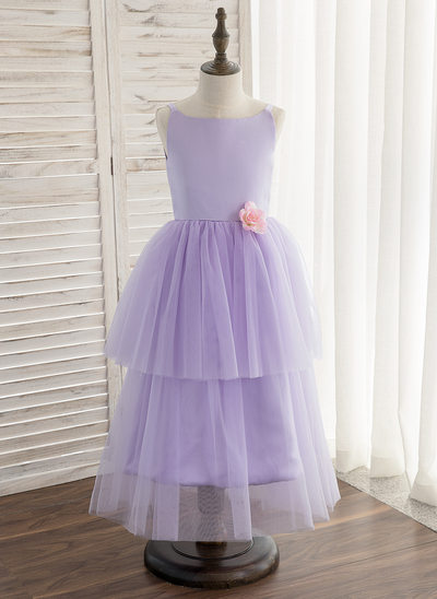 A-Line/Princess Tea-length Flower Girl Dress - Satin/Tulle Sleeveless Straps With Flower(s)