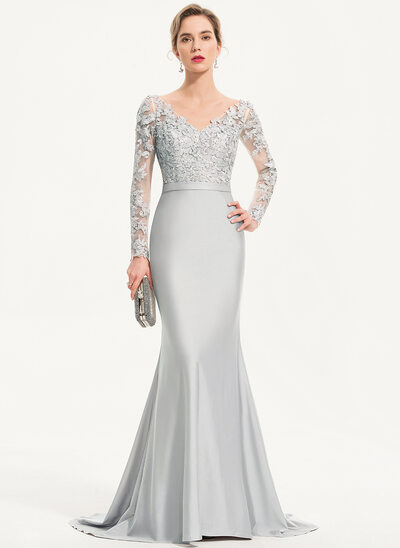 Trumpet/Mermaid V-neck Sweep Train Jersey Evening Dress With Sequins