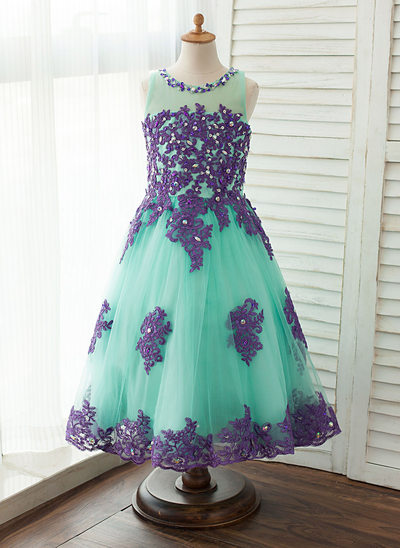 Ball Gown Tea-length Flower Girl Dress - Tulle/Lace Sleeveless Scoop Neck With Beading