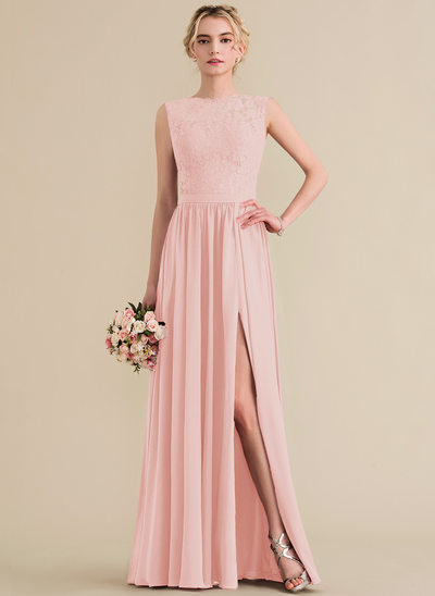 A-Line/Princess Scoop Neck Floor-Length Chiffon Lace Evening Dress With Split Front