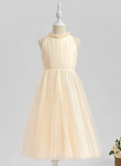 A-Line Tea-length Flower Girl Dress - Sleeveless High Neck