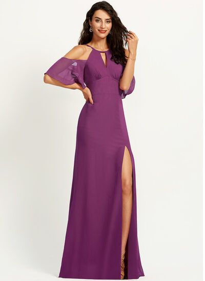 Halter Floor-Length Chiffon Bridesmaid Dress With Split Front