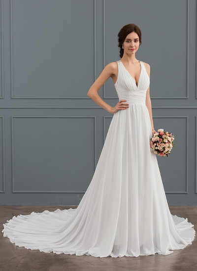 A-Line/Princess V-neck Chapel Train Chiffon Wedding Dress With Beading Sequins