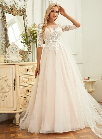 Ball-Gown/Princess Scoop Neck Sweep Train Tulle Lace Wedding Dress