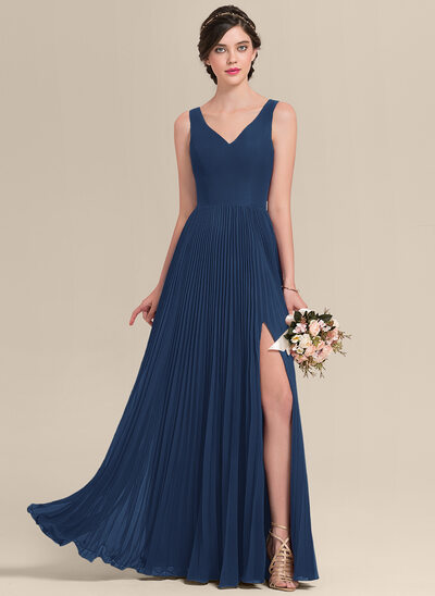 A-Line V-neck Floor-Length Chiffon Bridesmaid Dress With Split Front Pleated