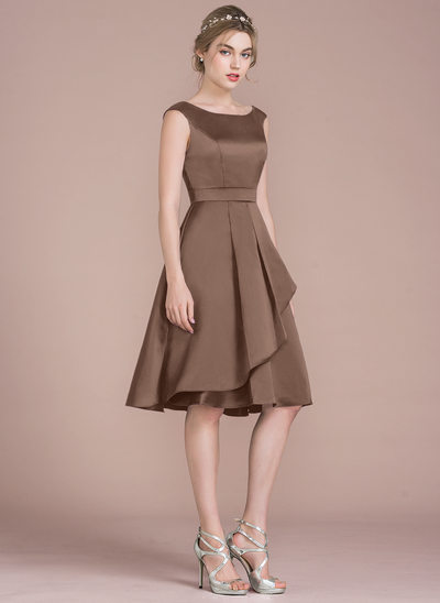 A-Line Scoop Neck Knee-Length Satin Homecoming Dress With Cascading Ruffles