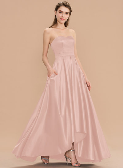 A-Line Sweetheart Asymmetrical Satin Bridesmaid Dress