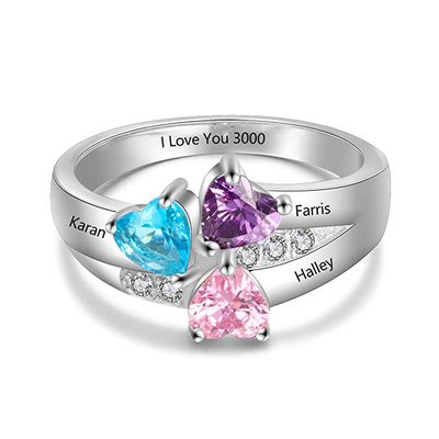 Personalized Ladies' Beautiful S925 Sliver Heart Cubic Zirconia/Birthstone Rings For Bride/For Friends/For Couple