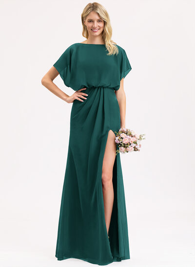 Sheath/Column Scoop Neck Floor-Length Chiffon Bridesmaid Dress With Ruffle Split Front