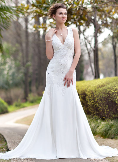 Trumpet Mermaid Halter Chapel Train Chiffon Wedding Dress With Ruffle Lace Beading