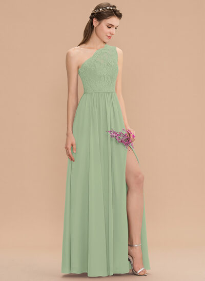 A-Line One-Shoulder Floor-Length Chiffon Lace Bridesmaid Dress With Split Front