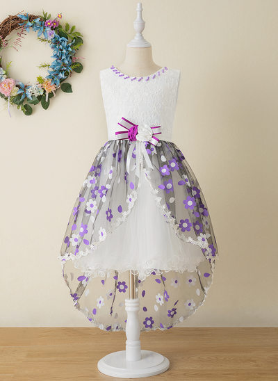 Ball-Gown/Princess Asymmetrical Flower Girl Dress - Tulle/Lace Sleeveless Scoop Neck With Flower(s)/Bow(s)