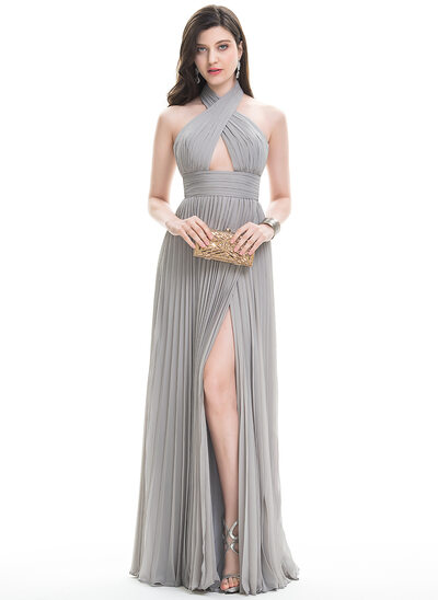 A-Line/Princess Halter Floor-Length Chiffon Prom Dresses With Split Front Pleated