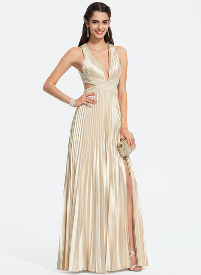 A-Line V-neck Floor-Length Charmeuse Prom Dresses With Beading Sequins Split Front