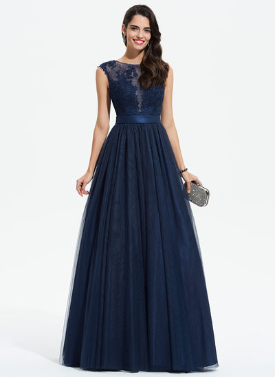 Ball-Gown/Princess Scoop Neck Floor-Length Tulle Prom Dresses With Lace
