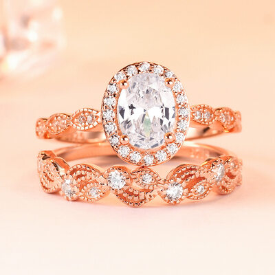 Ladies' Elegant Zircon/S925 Sliver With Oval Cubic Zirconia Rings/Engagement Rings/Bridal Sets For Bride