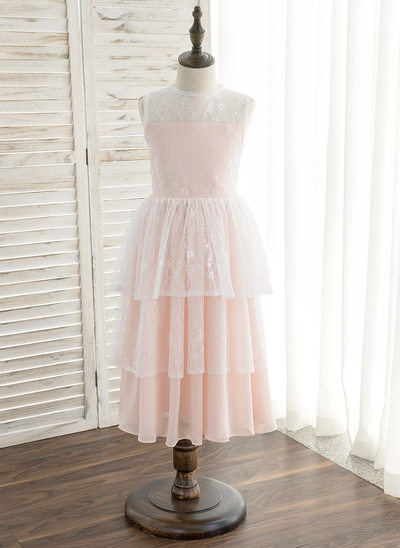 A-Line/Princess Tea-length Flower Girl Dress - Chiffon/Lace Sleeveless Scoop Neck