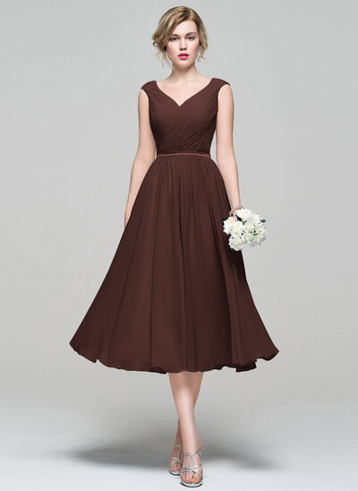 A-Line V-neck Tea-Length Chiffon Bridesmaid Dress With Ruffle