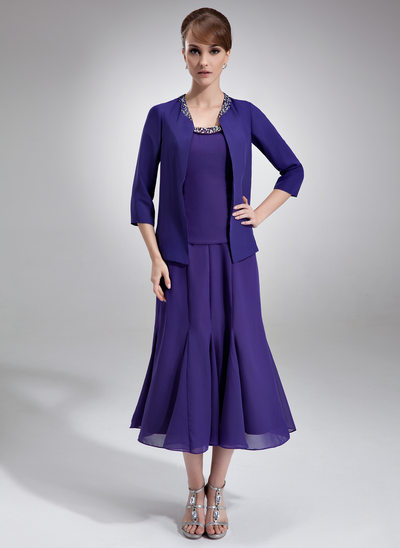 A-Line Scoop Neck Tea-Length Chiffon Mother of the Bride Dress With Ruffle Beading Sequins