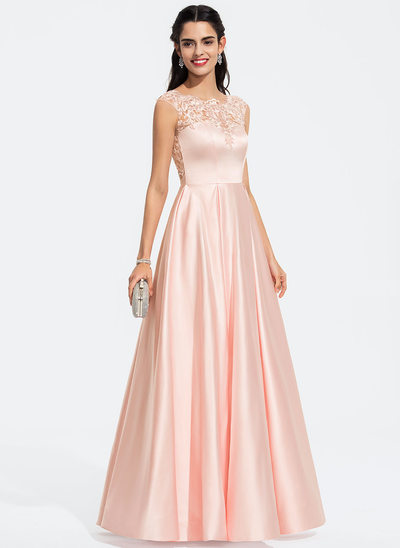 A-Line Scoop Neck Floor-Length Satin Prom Dresses With Sequins