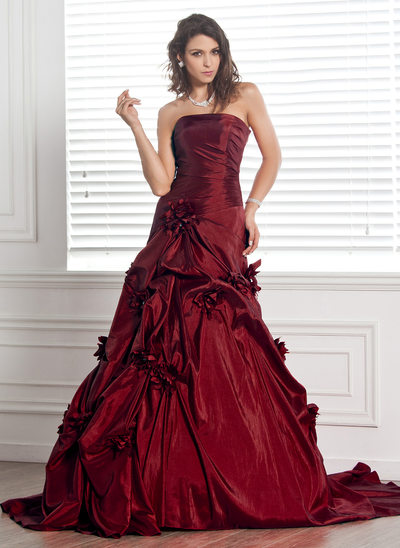 Ball-Gown Strapless Chapel Train Taffeta Wedding Dress With Ruffle Flower(s)