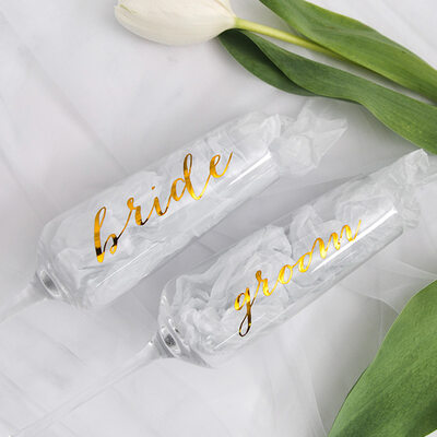 Bride Gifts - Eye-catching Decal Glass Champagne Flute