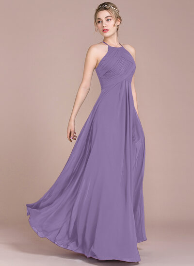 A-Line/Princess Scoop Neck Floor-Length Chiffon Evening Dress With Ruffle