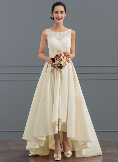 A-Line Scoop Neck Asymmetrical Satin Lace Wedding Dress With Bow(s)