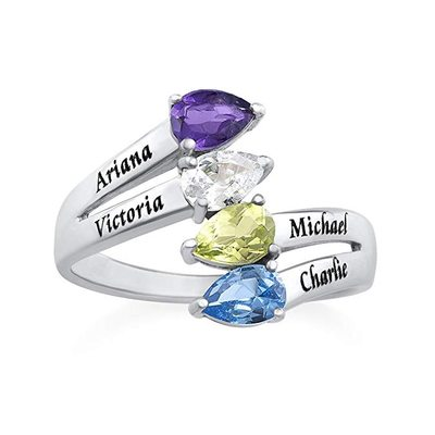 Personalized Classic S925 Sliver Pear Cubic Zirconia/Birthstone Rings For Bride/For Friends/For Couple