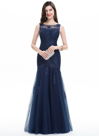 Trumpet/Mermaid Scoop Neck Floor-Length Tulle Lace Prom Dresses With Beading Sequins