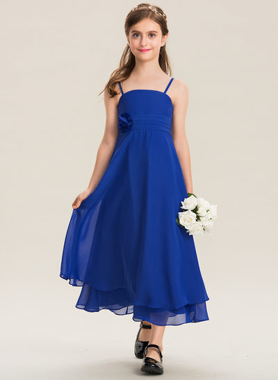A-Line Square Neckline Ankle-Length Chiffon Junior Bridesmaid Dress With Ruffle Flower(s)