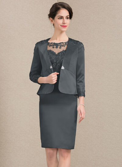 Sheath/Column Scoop Neck Knee-Length Satin Lace Mother of the Bride Dress