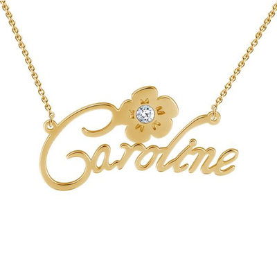 Personalized Ladies' Romantic Flowers 925 Sterling Silver With Round Cubic Zirconia Name Necklaces Necklaces For Bride/For Bridesmaid/For Mother/For Friends/For Couple