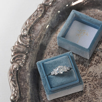 Bride Gifts - Personalized Delicate Graceful Stamping Inside Velvet Ring Holder