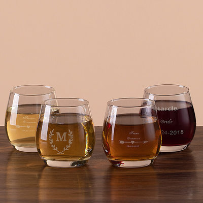 Bridesmaid Gifts - Personalized Glass Glassware and Barware