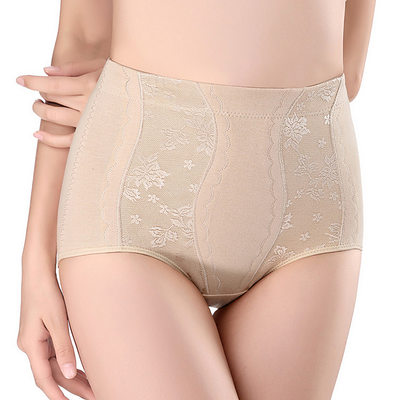 Women Sexy Cotton Breathability High Waist Panties With Jacquard Shapewear