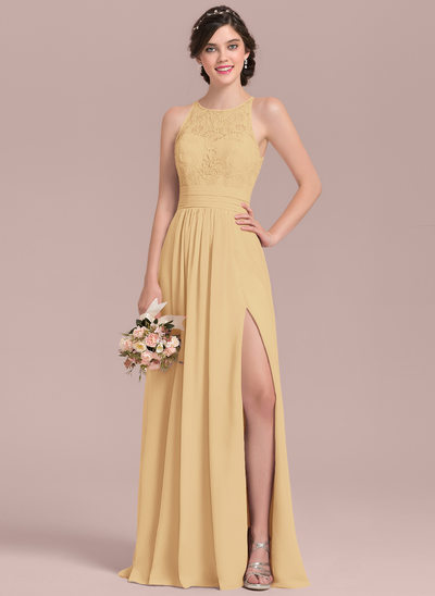 e331743b826 A-Line Princess Scoop Neck Floor-Length Chiffon Lace Bridesmaid Dress With  Ruffle