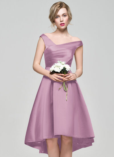 A-Line Off-the-Shoulder Asymmetrical Satin Bridesmaid Dress With Ruffle