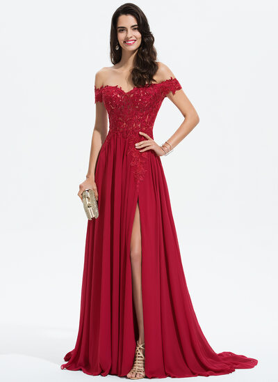 e0662364f6c0 A-Line Off-the-Shoulder Sweep Train Chiffon Prom Dresses With Lace Sequins