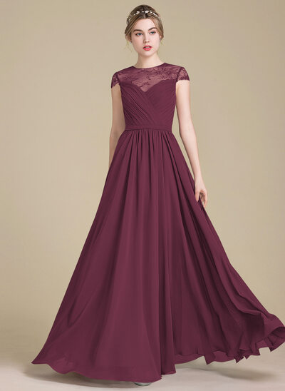 A-Line/Princess Scoop Neck Floor-Length Chiffon Lace Bridesmaid Dress With Ruffle