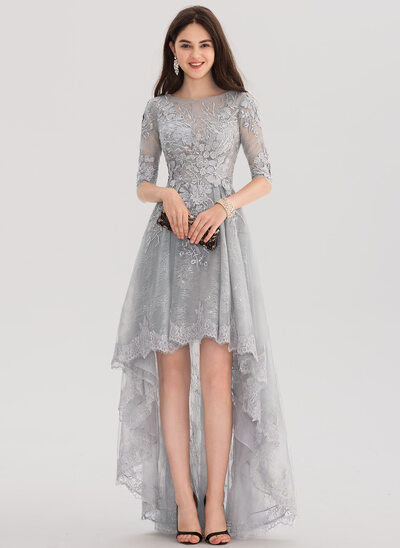 A-Line/Princess Scoop Neck Asymmetrical Tulle Lace Prom Dress