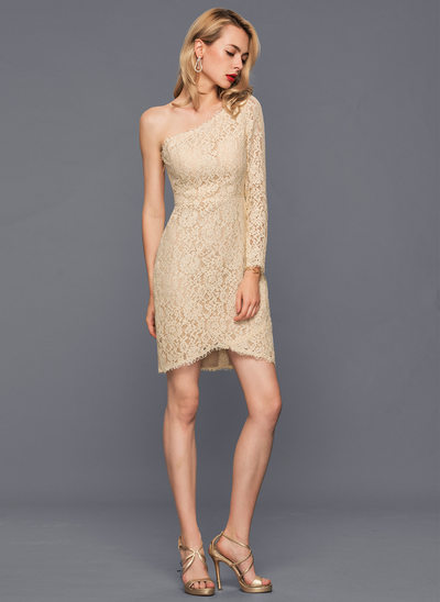 Sheath/Column One-Shoulder Asymmetrical Lace Cocktail Dress