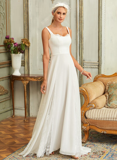 A-Line Square Neckline Sweep Train Chiffon Lace Wedding Dress With Lace
