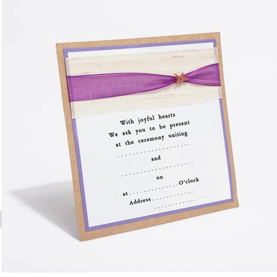 Personalized Classic Style Flat Card Invitation Cards With Ribbons (Set of 10)