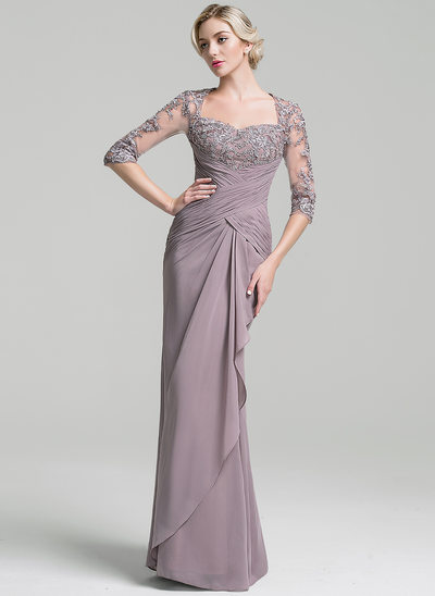 Trumpet/Mermaid Sweetheart Floor-Length Chiffon Mother of the Bride Dress With Ruffle Cascading Ruffles