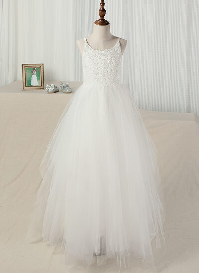 A-Line Floor-length Flower Girl Dress - Tulle/Lace Sleeveless Straps