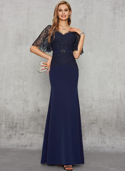 Trumpet/Mermaid V-neck Floor-Length Lace Stretch Crepe Evening Dress With Beading