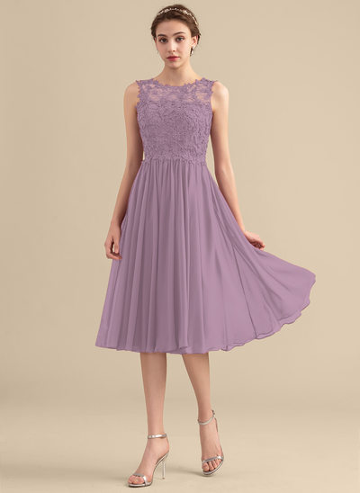 A-Line/Princess Scoop Neck Knee-Length Chiffon Lace Bridesmaid Dress With Beading Sequins